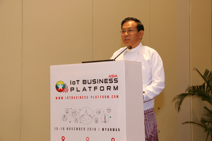 U Soe Thein, Permanent Secretary, Ministry of Transport and Communication sharing government's main initiatives at Asia IoT Business Platform in Yangon in 2018
